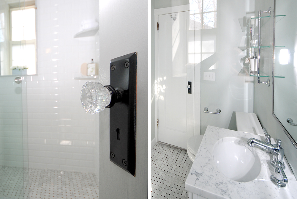 Basketweave carrara marble, antique doorknobs, white and gray updated bathroom